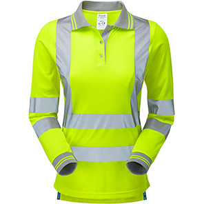 PULSAR P702 Women's Yellow Long-Sleeve Hi-Vis Polo Shirt