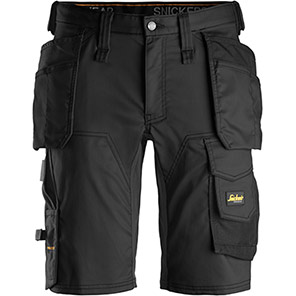 Snickers 6141 AllroundWork Stretch Shorts With Holster Pockets Primary Base Colour Black Secondary Base Colour Black