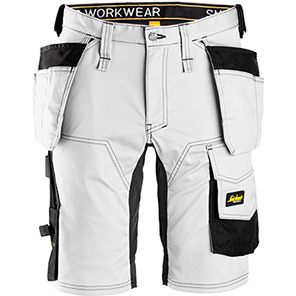 Snickers AllroundWork 6141 White Stretch Shorts with Holster Pockets