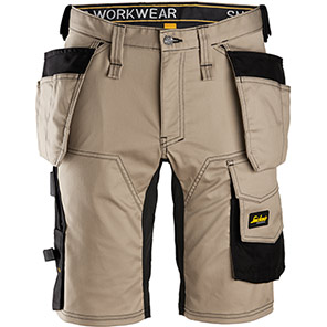 Snickers AllroundWork 6141 Khaki Stretch Shorts with Holster Pockets