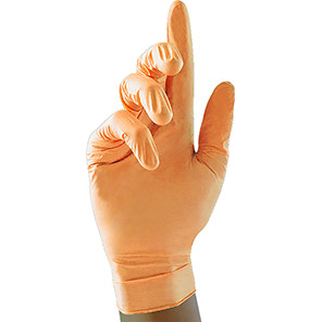 Case of 10 Boxes of 100 Nitrile Disposable Pearl Gloves Peach
