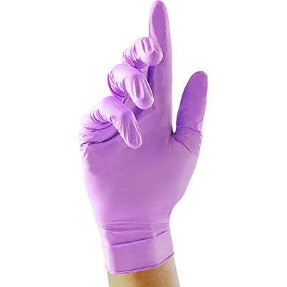 Case Of 10 Boxes of 100 Nitrile Disposable Violet Gloves