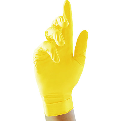 Case of 10 Nitrile Disposable Yellow Gloves