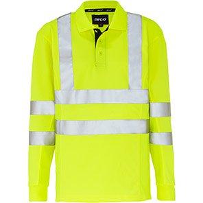 Arco Yellow Long-Sleeve Breathable Hi-Vis Polo Shirt