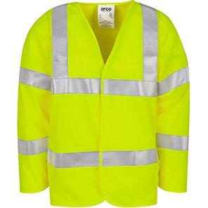 Arco Yellow Long-Sleeve Flame-Retardant H-Vis Vest