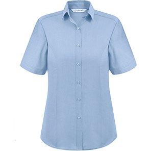 Disley Heritage Megan Women's Short-Sleeve Blue Oxford Blouse