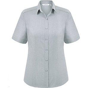 Disley Heritage Megan Women's Short-Sleeve Silver Oxford Blouse