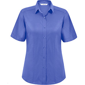 Disley Heritage Megan Women's Short-Sleeve Royal Blue Oxford Blouse