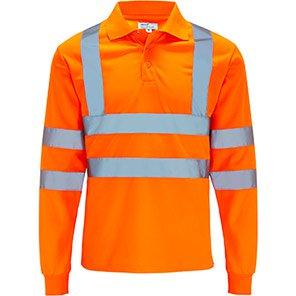 Arco Essentials Orange Long-Sleeve Hi-Vis Polo Shirt