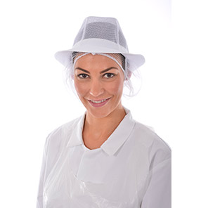 White Mesh Trilby Hat with Snood