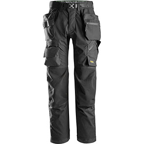 Snickers FlexiWork 6923 Black Floorlayer Trousers with Holster Pockets