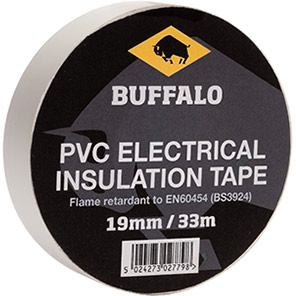 Buffalo White 19mm Electrical Insulation Tape 33m