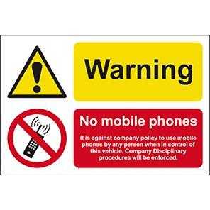 "Spectrum Industrial Self-Adhesive ""Warning No Mobile Phones"" Sign"