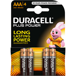 Duracell Plus Power AAA Batteries (Pack of 4)