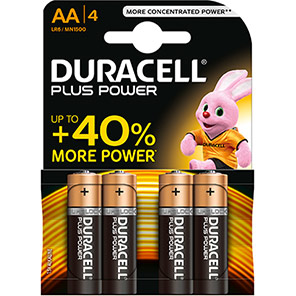 Duracell Plus Power AA Batteries (Pack of 4)