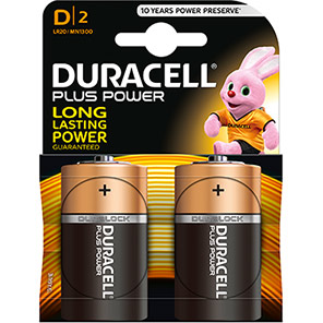 Duracell Plus Power D Batteries (Pack of 2)
