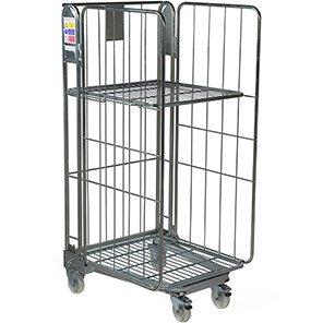 Palletower Three-Sided Nestable Wheeled Storage Cage