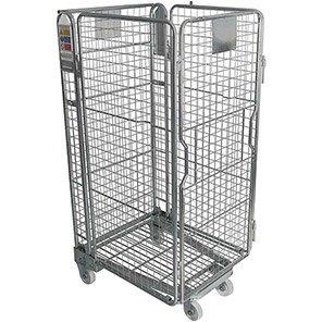 Palletower Four-Sided Nestable Split-Gate Wheeled Storage Cage