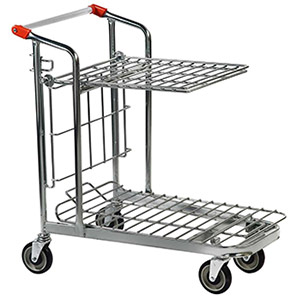 Nestable Stock-Picking Trolley with Folding Shelf