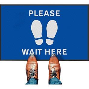 "COBA Blue ""Please Wait Here"" Social Distancing Floor Mat (Pack of 2)"