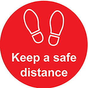 """Spectrum Industrial Red """"Keep a Safe Distance"""" Distancing Floor Graphic 200mm"""