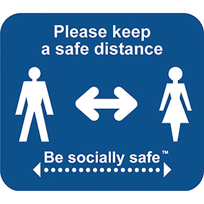 """Be Socially Safe Blue """"Keep a Safe Distance"""" 1m Floor Graphic (Pack of 25)"""