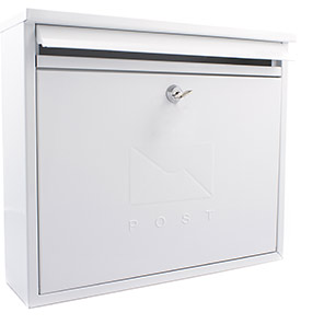 Sterling Elegance White Galvanised-Steel Wall-Mounted Post Box