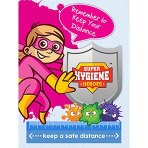 "Super Hygiene Heroes Shield ""Keep Safe Distance Apart"" A-Board"