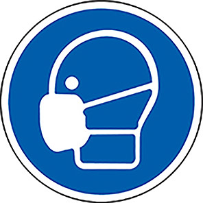 Spectrum Industrial Blue Wear Face Mask PPE Floor Graphic 400mm