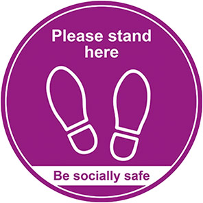 """Be Socially Safe Purple """"Please Stand Here"""" Social Distancing Floor Graphic"""