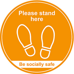 """Be Socially Safe Amber """"Please Stand Here"""" Social Distancing Floor Graphic"""
