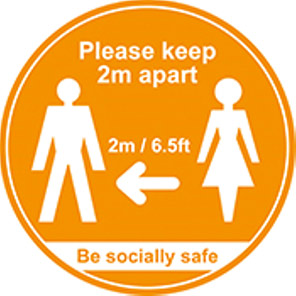 """Be Socially Safe Amber """"Please Keep 2m Apart"""" Social Distancing Floor Graphic"""