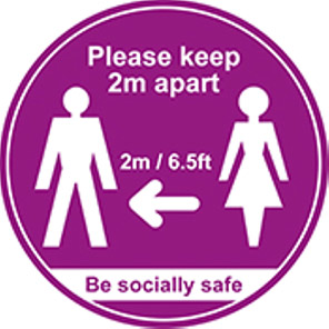 """Be Socially Safe Purple """"Please Keep 2m Apart"""" Distancing Floor Graphic"""