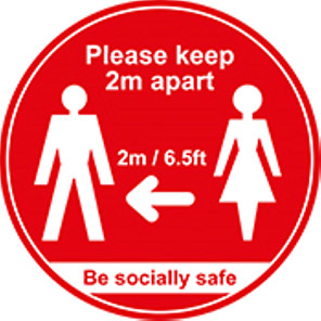 """Be Socially Safe Red """"Please Keep 2m Apart"""" Social Distancing Floor Graphic"""