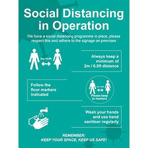 "Spectrum Industrial ""Social Distancing in Operation"" Social Distancing Sign"
