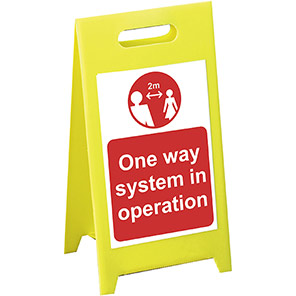 """Spectrum Industrial Red/White """"One-Way System in Operation"""" A-Board Sign"""