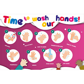 """Spectrum Industrial PVC """"Time to Wash our Hands"""" Safety Poster"""