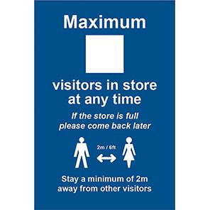 "Spectrum Industrial PVC ""Maximum Visitors in Store"" Social Distancing Sign"