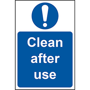 """Spectrum Industrial """"Clean After Use"""" Signs"""