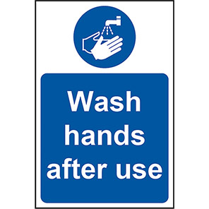 """Spectrum Industrial """"Wash Hands After Use"""" Signs"""