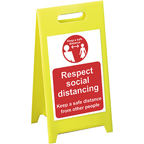 """Spectrum Industrial Red 1m """"Respect Social Distancing"""" A-Board"""