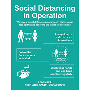 """Spectrum Industrial PVC """"Social Distancing in Operation"""" Social Distancing Sign"""