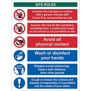 Spectrum Industrial PVC Site Rules Social Distancing Sign