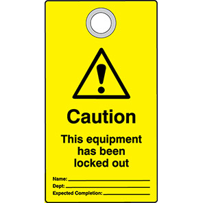 """Double-Sided """"Caution Equipment Has Been Locked Out"""" Lockout Tags (Pack of 10)"""