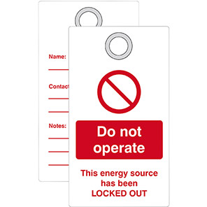 """Double-Sided """"Do Not Operate Energy Source Locked Out"""" Lockout Tag"""