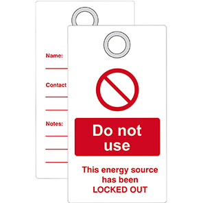 """Double-Sided """"Do Not Use Energy Source Has Been Locked Out"""" Lockout Tag"""