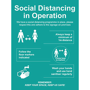 """Spectrum Industrial PVC """"Social Distancing in Operation"""" Sign"""