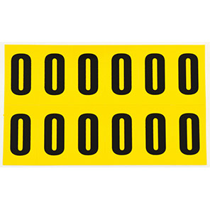 Beaverswood Yellow Self-Adhesive Numbers and Letters 21mm x 38mm (Pack of 12)
