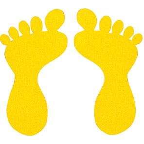 Beaverswood Yellow Small Self-Adhesive Slip-Resistant Footprints (Pack of 10)