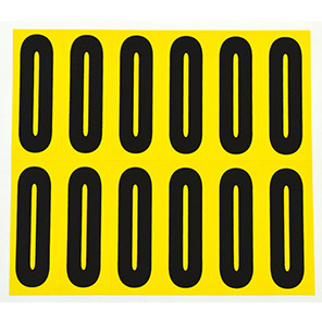 Beaverswood Yellow Self-Adhesive Numbers and Letters 21mm x 56mm (Pack of 12)